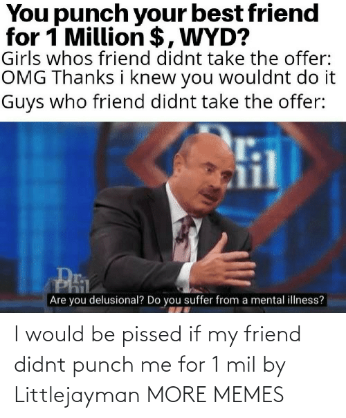 my friend: I would be pissed if my friend didnt punch me for 1 mil by Littlejayman MORE MEMES