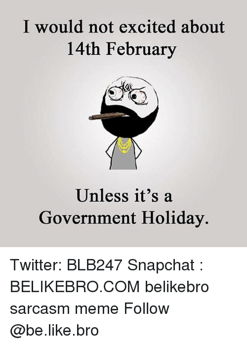 Excition: I would not excited about  14th February  Unless it's a  Government Holiday. Twitter: BLB247 Snapchat : BELIKEBRO.COM belikebro sarcasm meme Follow @be.like.bro