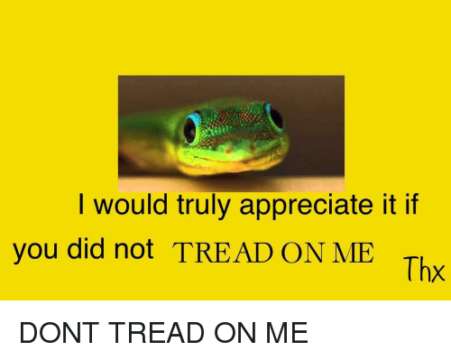 Dont Tread: I would truly appreciate it if  you did not TREAD ON ME  Thx <p>DONT TREAD ON ME</p>