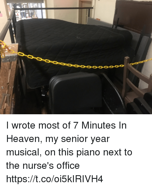 Senioritis: I wrote most of 7 Minutes In Heaven, my senior year musical, on this piano next to the nurse's office https://t.co/oi5kIRIVH4