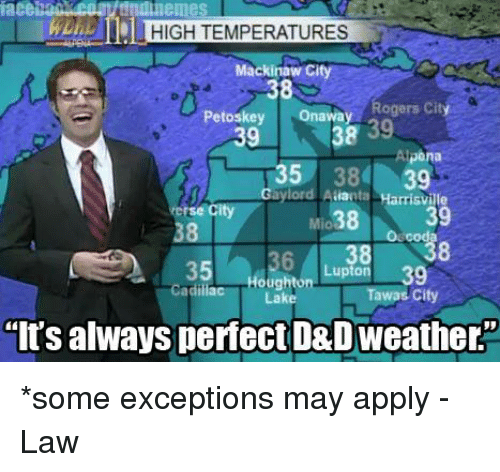 Applie: iace  IHIGH TEMPERATURES  Mackinaw Cit  s 38  Petoskey  Onaway  Rogers City  38  39  pona  35  39  Gaylord Aaranta  Harrisville  39  cod  Lupton 39  Houg  Tawas City  'It's always perfect D&D Weathers *some exceptions may apply  -Law
