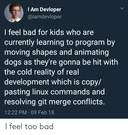 Commands: IAm Devloper  @iamdevloper  I feel bad for kids who are  currently learning to program by  moving shapes and animating  dogs as they're gonna be hit with  the cold reality of real  development which is copy/  pasting linux commands and  resolving git merge conflicts.  12:22 PM 09 Feb 18 I feel too bad