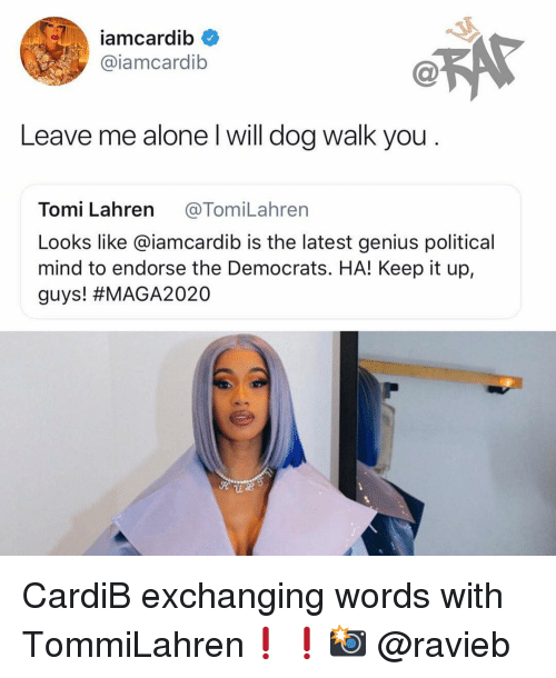 Being Alone, Memes, and Genius: iamcardib  @iamcardib  Leave me alone l will dog walk you  Tomi Lahren @TomiLahren  Looks like @iamcardib is the latest genius political  mind to endorse the Democrats. HA! Keep it up,  guys! CardiB exchanging words with TommiLahren❗️❗️📸 @ravieb