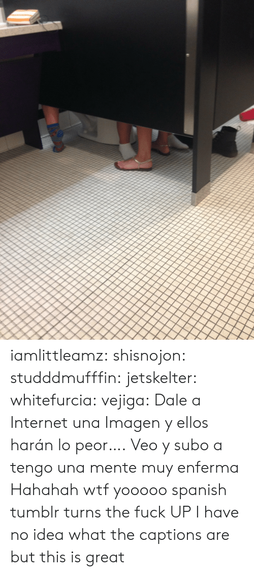Imagen: iamlittleamz:  shisnojon:  studddmufffin:  jetskelter:  whitefurcia:  vejiga:  Dale a Internet una Imagen     y ellos harán lo peor….  Veo y subo a   tengo una mente muy enferma    Hahahah wtf  yooooo spanish tumblr turns the fuck UP   I have no idea what the captions are but this is great