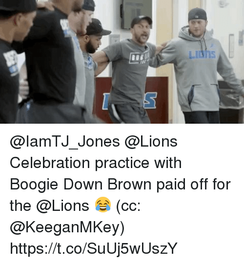 Memes, Lions, and 🤖: @IamTJ_Jones @Lions Celebration practice with Boogie Down Brown paid off for the @Lions 😂  (cc: @KeeganMKey) https://t.co/SuUj5wUszY