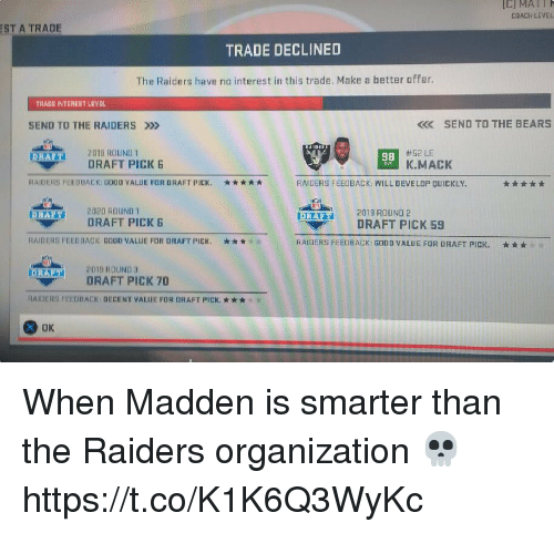 Football, Nfl, and Sports: IC) MATI  COACH LEVEL  ST A TRADE  TRADE DECLINED  The Raiders have no interest in this trade. Make a hetter offer  TRADE INTEREST L VEL  SEND TO THE RAIDERS »>  K SEND TO THE BEARS  #52 LE  K.MACK  RAET2019 ROUND  98  DRAFT PICK  RAIDERS FEEDBACK: G000 VALUE FOR DRAFT PICK.  * * ★ ★ ★  RAIDERS FEEDBACK: WILL DEVELOP QUICKLY  2020 ROUND โ  DRAFT PICK B  2019 ROUND 2  DRAFT PICK 59  inn  DRAFT  RAIDERS FEEDBACK GOO VALUE FOR RAFT PICK.  * * *  RAIDERS FEEDBACK: GODO VALUE FOR DRAFT PICK.  * * *  201 9 ROUND 3  DRAFT PICK 70  RAIDERS FEEDBACK: DECENT VALUE FOR DRAFT PICK. *  OK When Madden is smarter than the Raiders organization 💀 https://t.co/K1K6Q3WyKc
