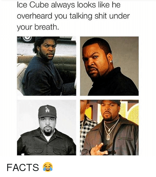 Ice Cube: Ice Cube always looks like he  overheard you talking shit under  your breath. FACTS 😂