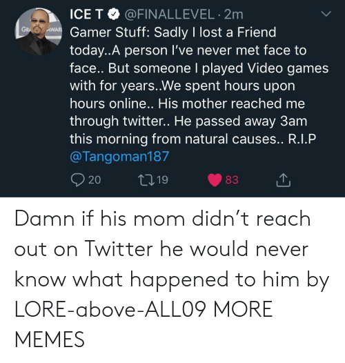 Dank, Memes, and Target: ICE T @FINALLEVEL 2m  AWAR Gamer Stuff: Sadly I lost a Friend  GR  today..A person I've never met face to  face.. But someone I played Video games  with for years..We spent hours upor  hours online.. His mother reached me  through twitter.. He passed away 3am  this morning from natural causes.. R.I.P  @Tangoman187  20  t19  83 Damn if his mom didn't reach out on Twitter he would never know what happened to him by LORE-above-ALL09 MORE MEMES