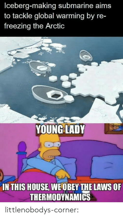 arctic: Iceberg-making submarine aims  to tackle global warming by re-  freezing the Arctic  YOUNG LADY  IN THIS HOUSE, WE OBEY THE LAWS OF  THERMODYNAMICS littlenobodys-corner: