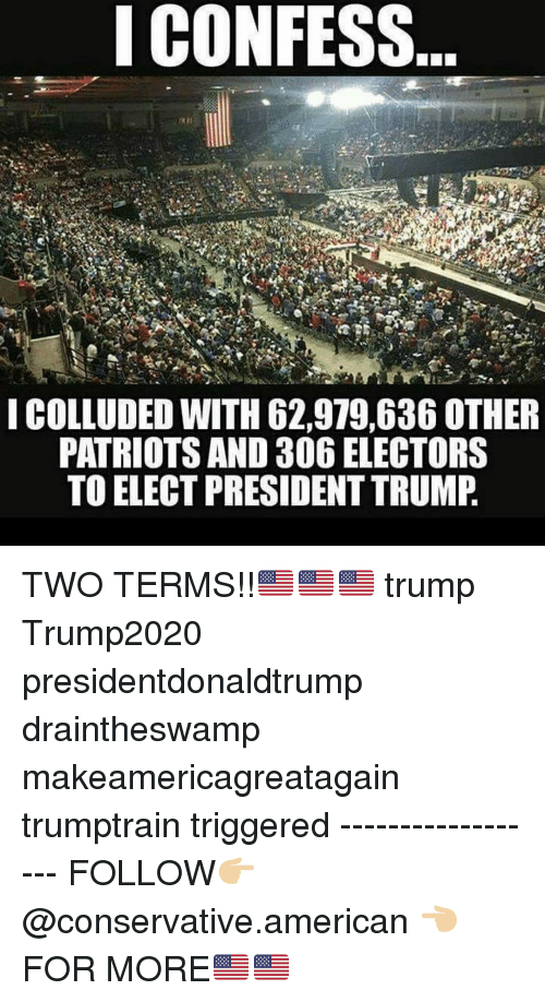 Memes, Patriotic, and American: ICONFESS  ICOLLUDED WITH 62,979,636 OTHER  PATRIOTS AND 306 ELECTORS  TO ELECT PRESIDENT TRUMP TWO TERMS!!🇺🇸🇺🇸🇺🇸 trump Trump2020 presidentdonaldtrump draintheswamp makeamericagreatagain trumptrain triggered ------------------ FOLLOW👉🏼 @conservative.american 👈🏼 FOR MORE🇺🇸🇺🇸