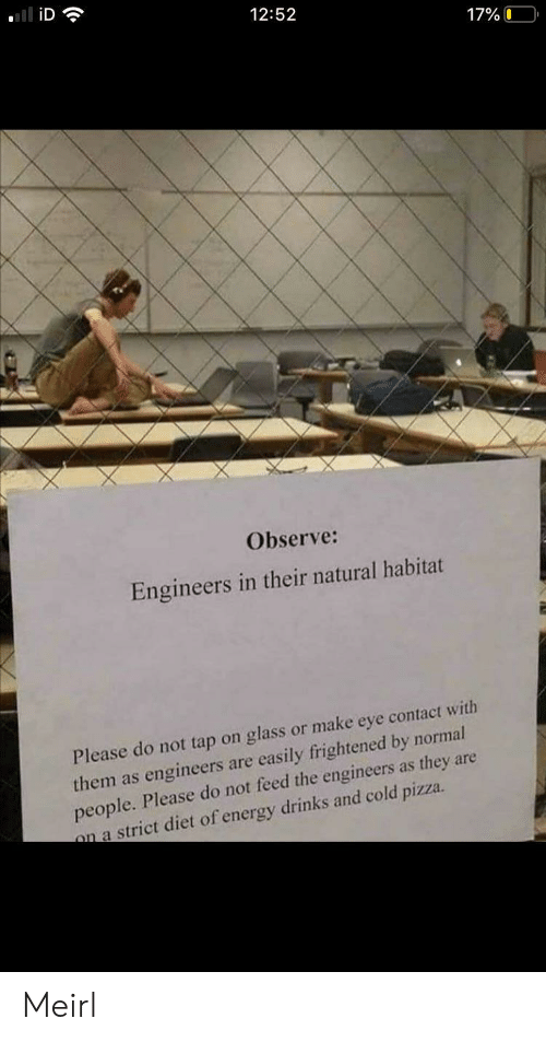 Energy, Pizza, and Diet: iD  12:52  17%O  Observe:  Engineers in their natural habitat  Please do not tap on glass or make eye contact with  them as engineers are easily frightened by normal  people. Please do not feed the engineers as they are  on a strict diet of energy drinks and cold pizza. Meirl