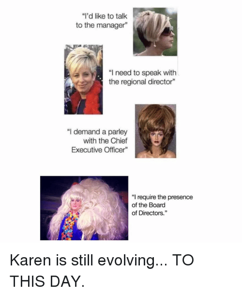 """Memes, Board, and 🤖: """"I'd like to talk  to the manager""""  """"I need to speak with  the regional director""""  """"I demand a parley  with the Chief  Executive Officer""""  """"I require the presence  of the Board  of Directors."""" Karen is still evolving... TO THIS DAY."""