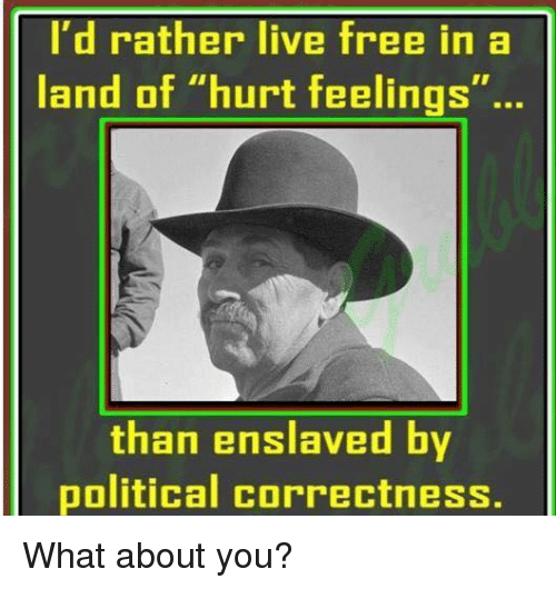 """Political Correctness: I'd rather live free in a  land of """"hurt feelings""""...  AF  than enslaved by  political correctness. What about you?"""