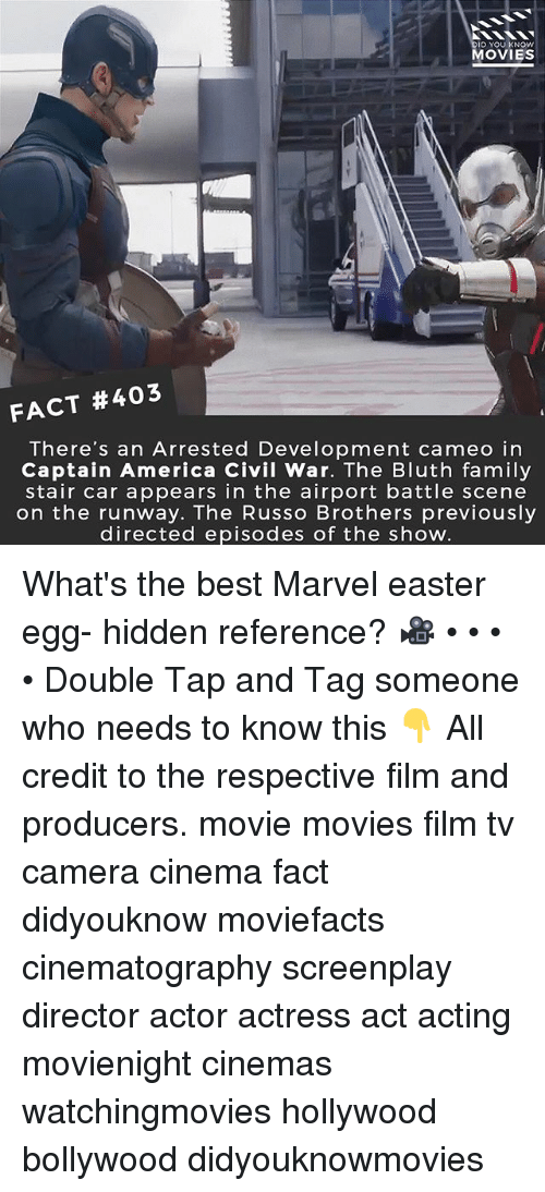 Captain America: Civil War: ID YOU KNOW  MOVIES  FACT #403  There's an Arrested Development cameo in  Captain America Civil War. The Bluth family  stair car appears in the airport battle scene  on the runway. The Russo Brothers previously  directed episodes of the show What's the best Marvel easter egg- hidden reference? 🎥 • • • • Double Tap and Tag someone who needs to know this 👇 All credit to the respective film and producers. movie movies film tv camera cinema fact didyouknow moviefacts cinematography screenplay director actor actress act acting movienight cinemas watchingmovies hollywood bollywood didyouknowmovies