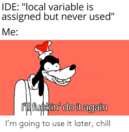 """ide: IDE: """"local variable is  assigned but never used""""  Me:  Ml fuckin' do it again I'm going to use it later, chill"""