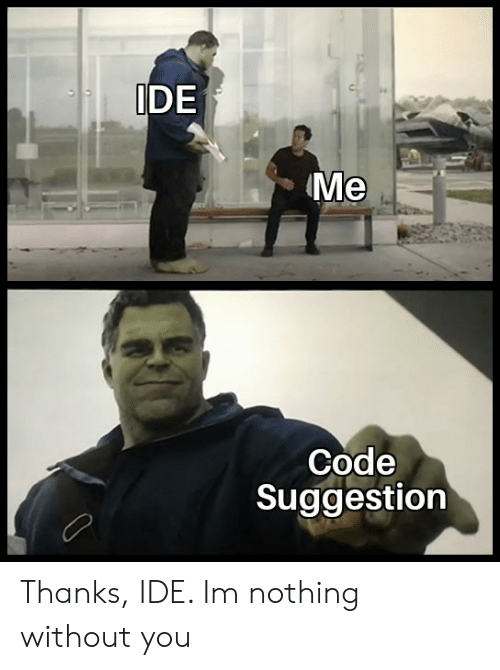ide: IDE  Me  Code  Suggestion Thanks, IDE. Im nothing without you