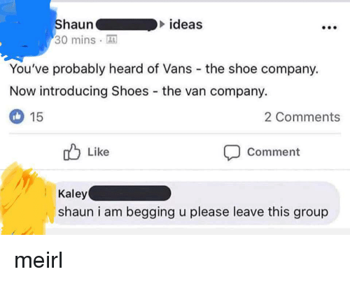 Shoes, Vans, and MeIRL: ideas  Shauna  30 minsA  You've probably heard of Vans the shoe company.  Now introducing Shoes the van company.  2 Comments  15  Like  Comment  Kaley  shaun i am begging u please leave this group meirl