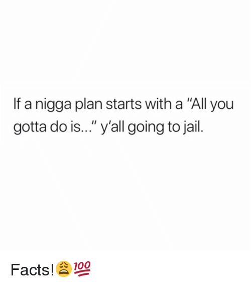 """Facts, Jail, and Hood: If a nigga plan starts with a """"All you  gotta do is..."""" y'all going to jail. Facts!😩💯"""