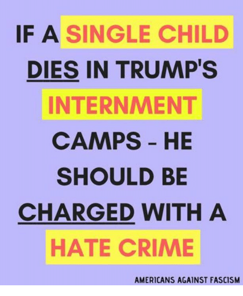 Crime, Fascism, and Single: IF A SINGLE CHILD  DIES IN TRUMP'S  INTERNMENT  CAMPS HE  SHOULD BE  CHARGED WITH A  HATE CRIME  AMERICANS AGAINST FASCISM