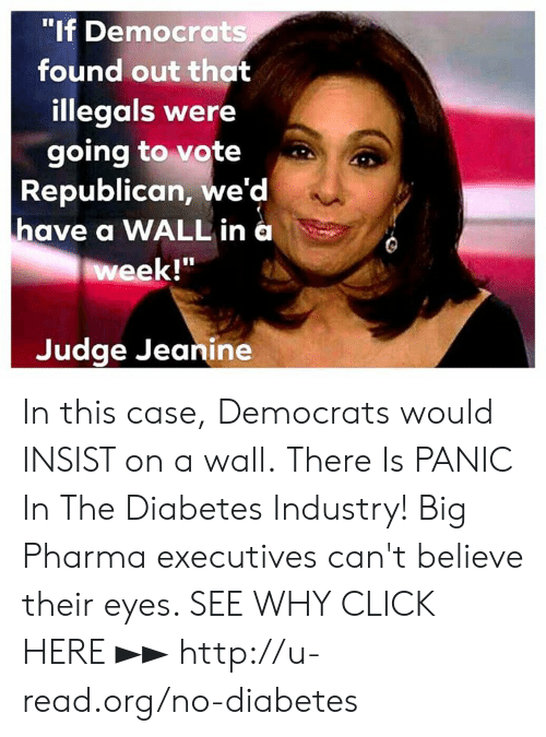 """Click, Memes, and Diabetes: """"If Democrats  found out that  illegals were  going to vote  Republican, we'd  have a WALL in a  week!""""  Judge Jeanine In this case, Democrats would INSIST on a wall.  There Is PANIC In The Diabetes Industry! Big Pharma executives can't believe their eyes. SEE WHY CLICK HERE ►► http://u-read.org/no-diabetes"""