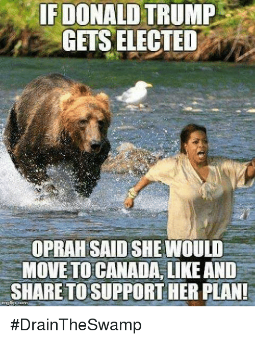 Move To Canada: IF DONALD TRUMP  GETS ELECTED  OPRAH SAID SHE WOULD  MOVE TO CANADA, LIKE AND  SHARETOSUPPORTHER PLAN! #DrainTheSwamp