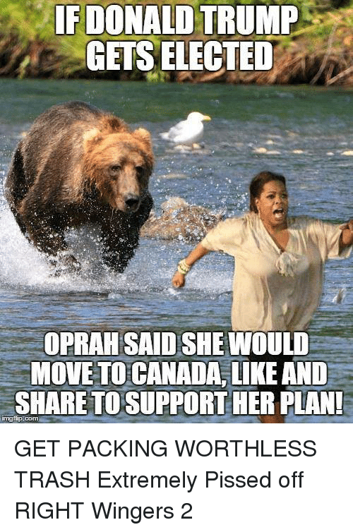 Move To Canada: IF DONALD TRUMP  GETS ELECTED  OPRAH SAID SHE WOULD  MOVE TO CANADA,LIKE AND  SHARE TO SUPPORT HER PLAN  ingflip.com GET PACKING WORTHLESS TRASH  Extremely Pissed off RIGHT Wingers 2