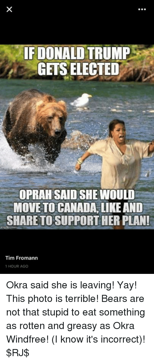 Move To Canada: IF DONALD  TRUMP  GETS ELECTED  OPRAH SAID SHE WOULD  MOVE TO CANADA, LIKE AND  SHARE TO SUPPORT HER PLANI  Tim Fromann  1 HOUR AGO Okra said she is leaving! Yay! This photo is terrible! Bears are not that stupid to eat something as rotten and greasy as Okra Windfree! (I know it's incorrect)! $RJ$