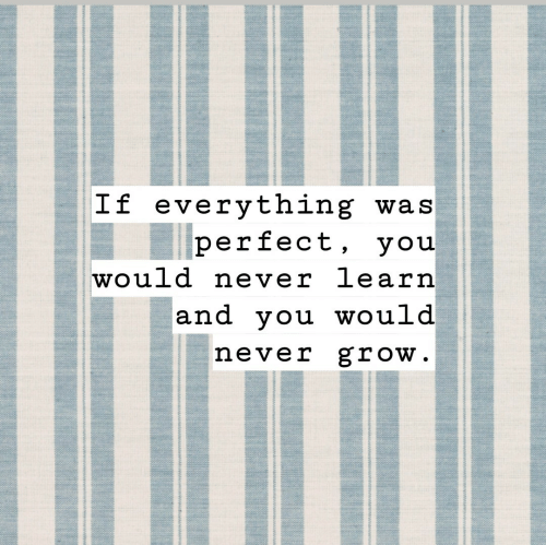 Never, Grow, and You: If everything was  perfect, you  would never learn  and you would  never grow.