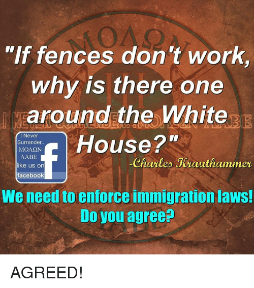 """Enforcer: """"If fences don't work  why is there one  around the White  Surrender.  House 2""""  MONSON  I Never  AABE  like us on  Charles Jeauthammer  facebook  We need to enforce immigration laws!  Do you agree? AGREED!"""