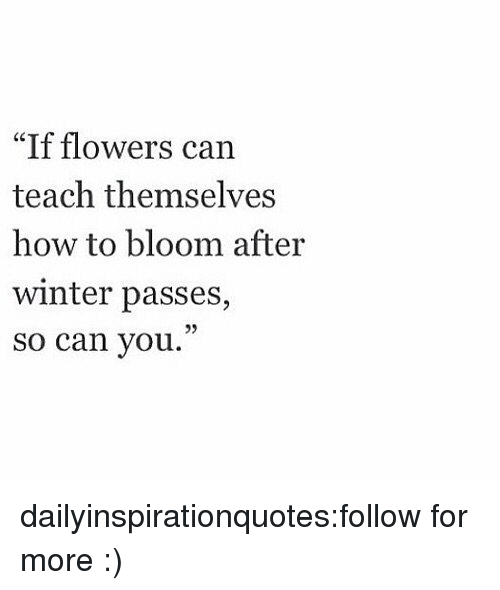 """motivational quotes: """"If flowers can  teach themselves  how to bloom after  winter passes,  so can you.""""  05 dailyinspirationquotes:follow for more :)"""