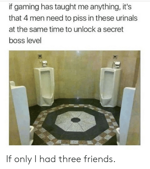 Friends, Time, and Gaming: if gaming has taught me anything, it's  that 4 men need to piss in these urinals  at the same time to unlock a secret  boss level If only I had three friends.