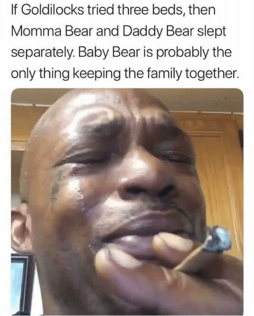 the family: If Goldilocks tried three beds, then  Momma Bear and Daddy Bear slept  separately. Baby Bear is probably the  only thing keeping the family together.