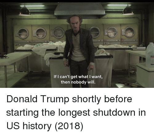Donald Trump, History, and Trump: If I can't get what l want,  then nobody will. Donald Trump shortly before starting the longest shutdown in US history (2018)