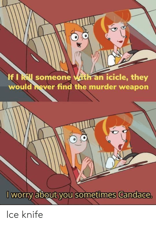 Murder, Ice, and Weapon: If I Rill someone ith an icicle, they  would hever find the murder weapon  I worry about you sometimes Candace. Ice knife