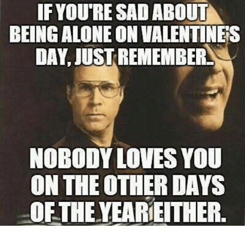 Alone On Valentines Day: IF IF YOURE SAD ABOUT  BEING ALONE ON VALENTINES  DAY, JUST REMEMBER  NOBODY LOVES YOU  ON THE OTHER DAYS  OFTHE YEARIE THER.