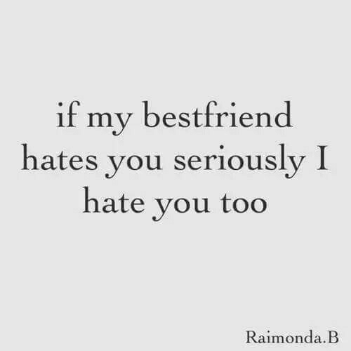 hates: if my bestfriend  hates you seriously I  hate vou too  Raimonda.B
