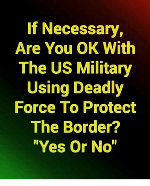 """us military: If Necessary,  Are You OK With  The US Military  Using Deadly  Force To Protect  The Border?  Yes Or No"""""""