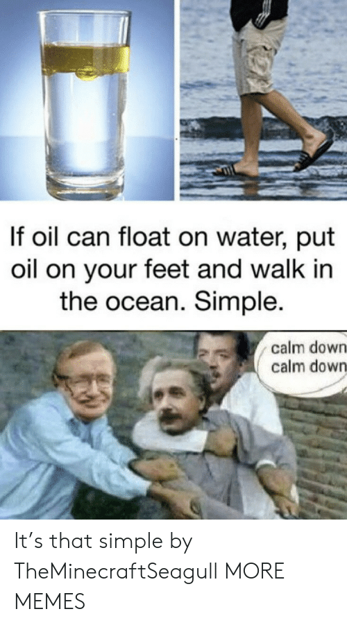 calm down: If oil can float on water, put  oil on your feet and walk in  the ocean. Simple.  calm down  calm down It's that simple by TheMinecraftSeagull MORE MEMES