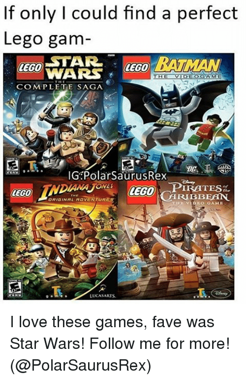 Pirating: If only I could find a perfect  Lego gam  STAR.  BATMAN  LEGO  VVARS  THE VIDEOGAME  CEO MPLETE SAGA  G Polar SaurusRex  PIRATES  CEGO  ARIBBEAN.  LUCA SARIS. I love these games, fave was Star Wars! Follow me for more! (@PolarSaurusRex)
