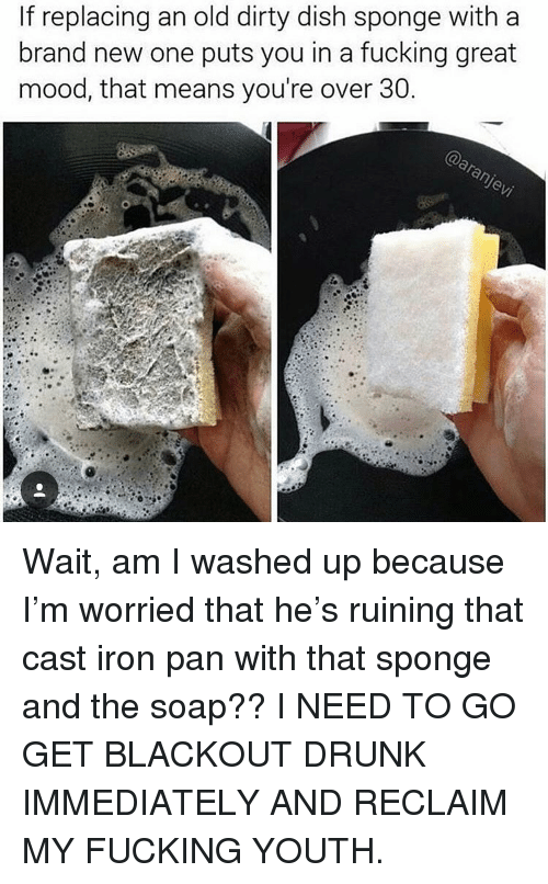 Drunk, Fucking, and Memes: If replacing an old dirty dish sponge with a  brand new one puts you in a fucking great  mood, that means you're over 30 Wait, am I washed up because I'm worried that he's ruining that cast iron pan with that sponge and the soap?? I NEED TO GO GET BLACKOUT DRUNK IMMEDIATELY AND RECLAIM MY FUCKING YOUTH.