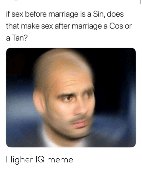 Iq Meme: if sex before marriage is a Sin, does  that make sex after marriage a Cos or  a Tan? Higher IQ meme
