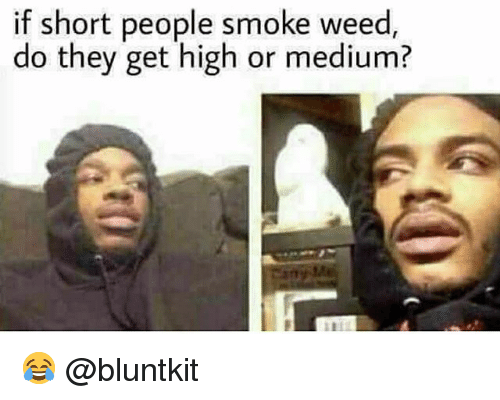 Funny, Weed, and Medium: if short people smoke weed  do they get high or medium? 😂 @bluntkit