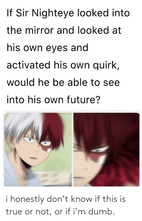 Dumb, Future, and True: If Sir Nighteye looked into  the mirror and looked at  his own eyes and  activated his own quirk,  would he be able to see  into his own future? i honestly don't know if this is true or not, or if i'm dumb.
