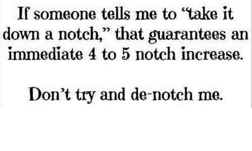 """take it down a notch: If someone tells me to """"take it  down a notch,"""" that guarantees an  immediate 4 to 5 notch increase.  Don't try and de-notch me."""