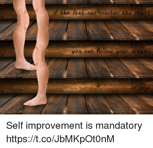 Improvement: if the feet can master the stairs  you can Follow your dreams  or else Self improvement is mandatory https://t.co/JbMKpOt0nM