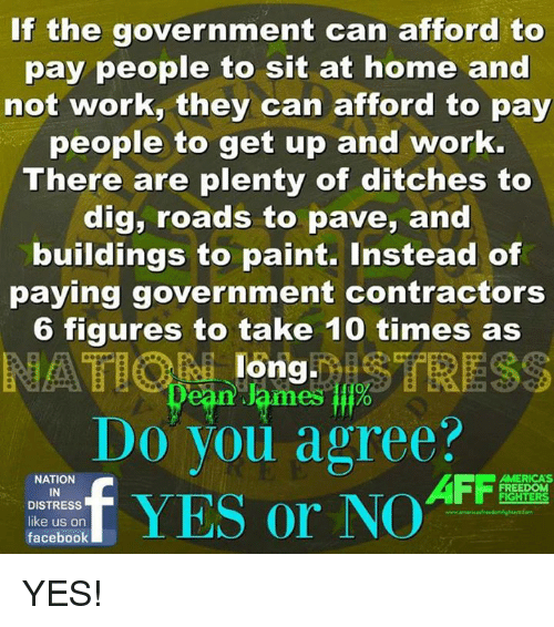 Distression: If the government can afford to  pay people to sit at home and  not work, they can afford to pay  people to get up and work.  There are plenty of ditches to  dig, roads to pave, and  buildings to paint. Instead of  paying government contractors  6 figures to take 10 times as  long  ean lames %  Do you agree?  t  、  NATION  IN  DISTRESS  AFFa  MERICA'S  FREEDOM  facebook YES!