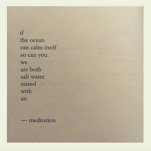 Mixed: if  the ocean  can calm itself  so can you.  we  are both  salt water  mixed  with  aif.  meditation
