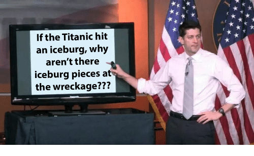 wreckage: If the Titanic hit  an iceburg, why  aren't there  iceburg pieces at  the wreckage???