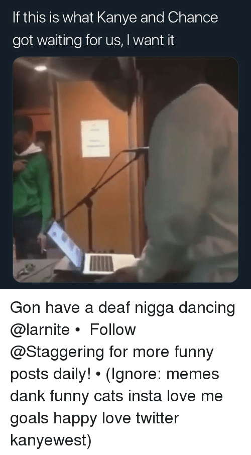 Cats, Dancing, and Dank: If this is what Kanye and Chance  got waiting for us, I want it Gon have a deaf nigga dancing @larnite • ➫➫➫ Follow @Staggering for more funny posts daily! • (Ignore: memes dank funny cats insta love me goals happy love twitter kanyewest)