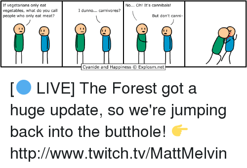 eating meat: If vegetarians only eat  vegetables, what do you call  people who only eat meat?  No... Oh! It's cannibals  I dunno... carnivores?  But don't ca  nn  Cyanide and Happiness OExplosm.net [🔵 LIVE] The Forest got a huge update, so we're jumping back into the butthole!  👉 http://www.twitch.tv/MattMelvin